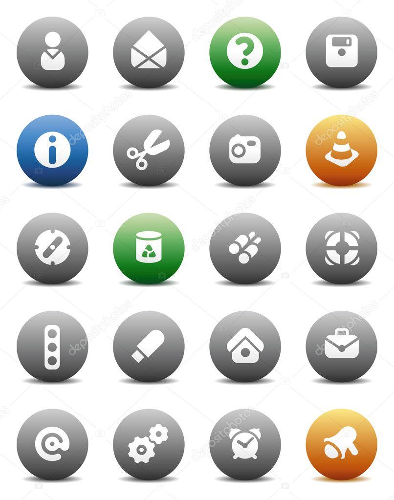 Miscellaneous buttons. Icons for websites and interface elements. Vector illustration.  Stock Vector #3318224