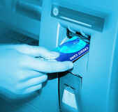ATM. Inserting A Card. — Stock Photo