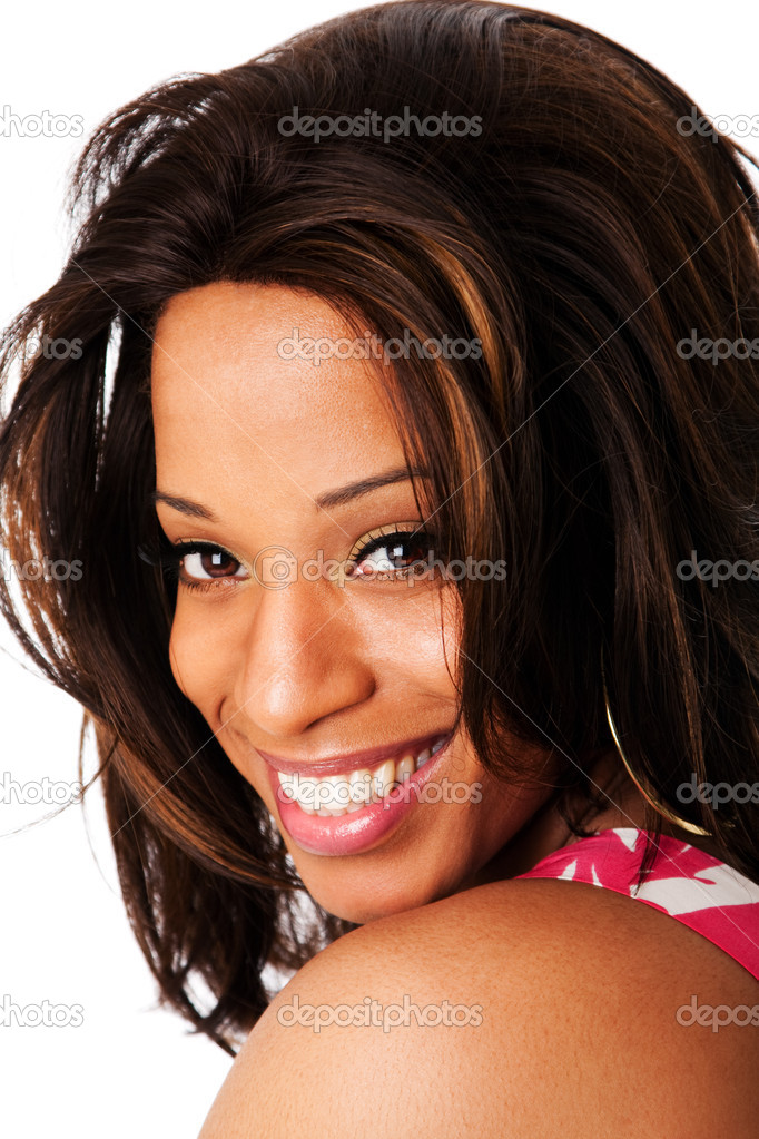 Happy face of a beautiful African American business woman expressing a smile, isolated. — Stock Photo #2689180