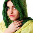 Stock Photo: Face with green eyes and scarf