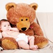 Baby with bear — Foto Stock