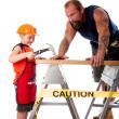 Father and son carpenter job — Stock Photo
