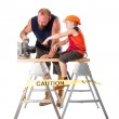 Dad with son and circle saw — Stock Photo