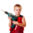 Boy kid with drill — Stock Photo