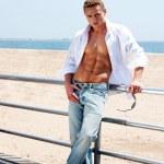 Sexy man at beach — Stock Photo