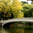 Bridge over lake in fall scenery - Stock Photo