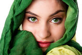 Face with green eyes and scarf — Zdjęcie stockowe