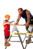Father and son carpenter job — Stock Photo