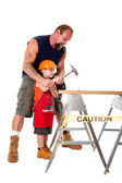 Father teaching son construction — Stock Photo