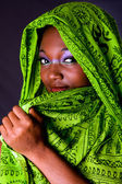 Shy African woman with scarf — Stock Photo