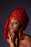 African woman with headwrap — Stok fotoğraf