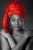Tribal African woman with headwrap — Stock Photo