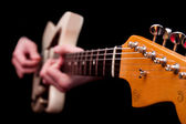 Hands playing guitar string music — Stock Photo