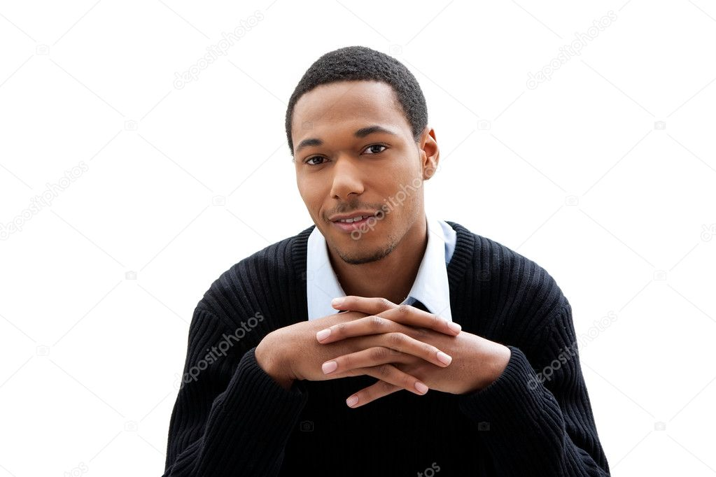 Handsome African American male in blue shirt and black sweater, isolated — Stock Photo #2767946