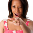 African business woman pointing finger — Stock Photo