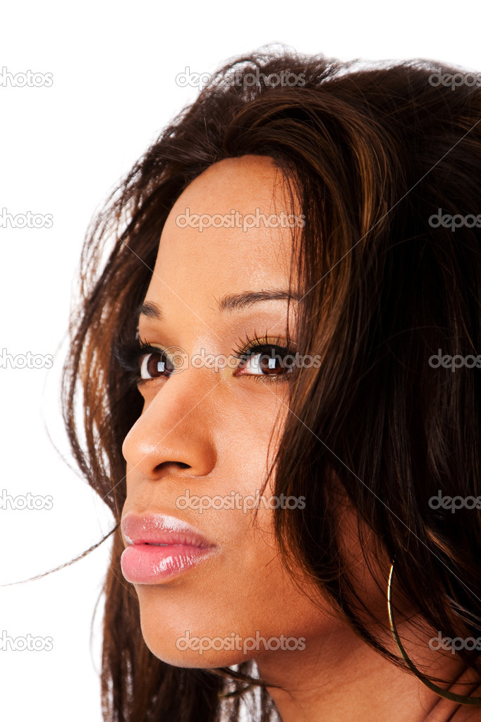 Face of a beautiful African American fashion business woman with natural makeup and long hair, isolated. — Stock Photo #2857259