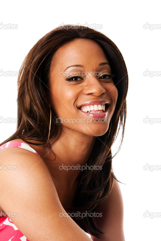 Face of a beautiful African American business woman expressing a smile, isolated. — Stock Photo #2859414