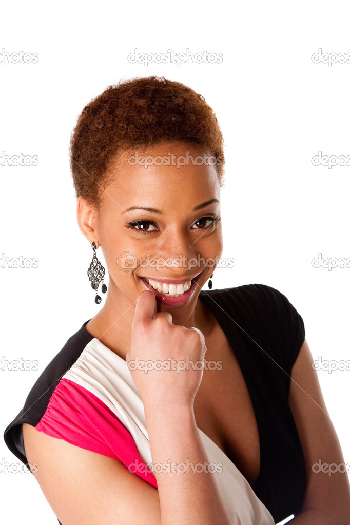 Face of beautiful African American business woman with big happy smile and hand on lip, isolated. — Stock Photo #2859422