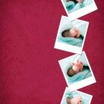 Funny happy baby feet polaroids — Stock Photo