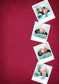 Funny happy baby feet polaroids — Stock Photo