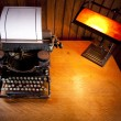 Desk with old typewriter and lamp — Foto de Stock