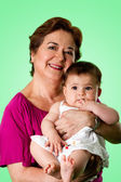 Happy grandma and cute baby — Stock Photo