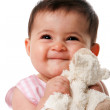 Happy baby with security blanket — Stock Photo