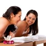 Women having fun at spa — Stock Photo