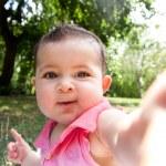 Cute funny happy baby face — Stock Photo