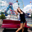 Girl having fun in amusement park — Foto Stock