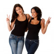Young happy peace girls — Stock Photo