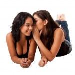 Telling secret gossip girls — Stock Photo
