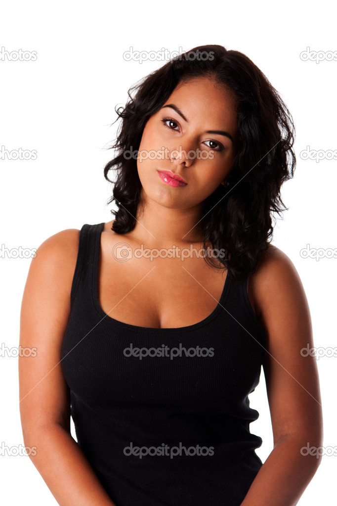 Torso of beautiful casual Hispanic Caucasian woman with curly black hair and head tilted, isolated. — Stock Photo #3696948