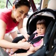 Baby in car seat for safety — Stock Photo