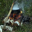 Cooking ona campfire — Stock Photo