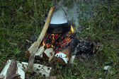 Cooking ona campfire — Fotografia Stock