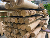 Wood poles. stack — Stock Photo