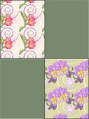 Spring floral seamless backgrounds set — ストックベクタ