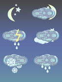 Set of 6 crystal weather emblems for night time — Stock Vector