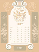 Retro windows calendar , July — Stock Vector