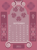 Retro windows calendar September — Stock Vector
