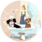Hond wassen — Stockvector