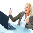 Royalty-Free Stock Photo: Senior business woman excited