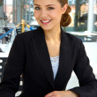 Young businesswoman working at a restaurent - Stockfoto