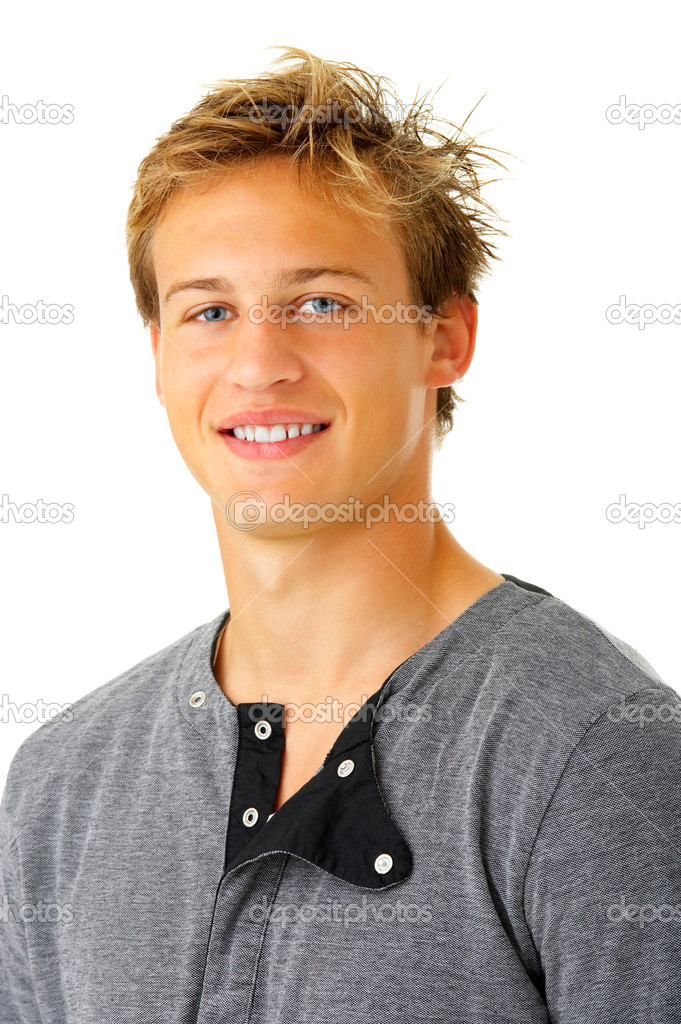 Isolated smiling young guy - Portrait of a casual young satisfied man. Isolated on white. — Stock Photo #3198126