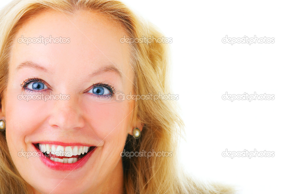 Close-up of a mature business woman, isolated on a white background.  Stock Photo #3198773