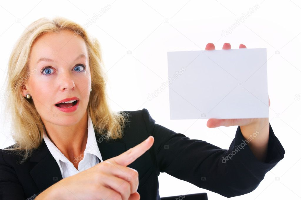 Portrait of a beautiful woman holding business card or white board — Stock Photo #3198882
