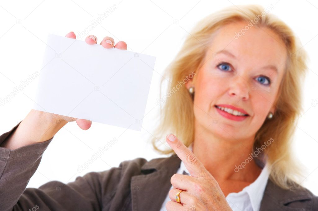 Portrait of a beautiful woman holding business card or white board — Stock Photo #3199124