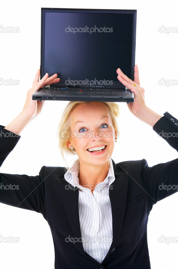 Portrait of an mature business woman, with a laptop ontop of her head . Isolated on a white background. — Photo #3199210