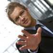 Confident young man saying STOP - Stockfoto